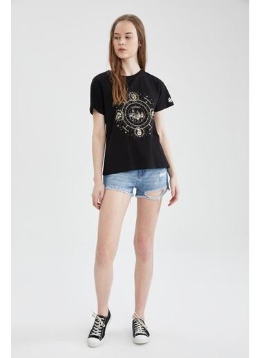 DeFacto Harry Potter Lisanslı Bisiklet Yaka T-shirt Siyah
